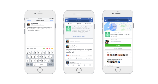 The check in flow on Facebook's mobile app.