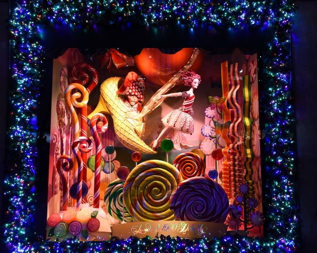 A sugar sweet window at Saks Fifth Avenue.
