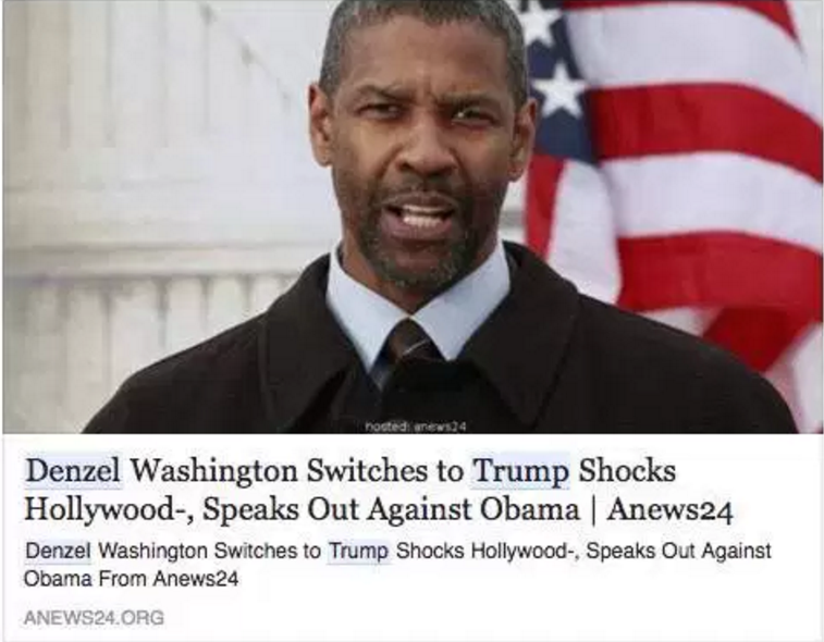Can Chrome thwart fake news, such as this bogus story about Denzel Washington supporting Donald Trump?