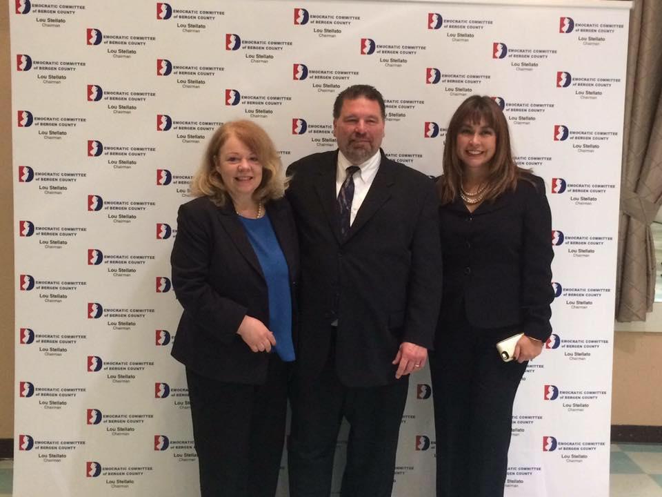 Newly elected democratic Freeholders Mary Amoroso, Tom Sullivan and Germaine Ortiz.