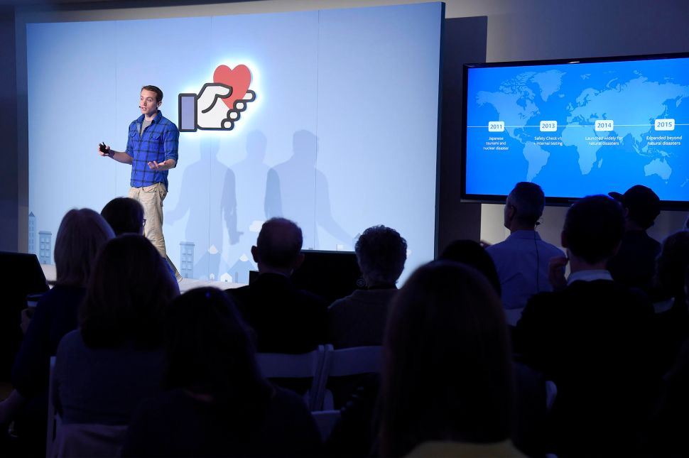 """Peter Cottle, the engineer behind Facebook's """"Safety Check"""" feature, at the company's """"Connecting For Good"""" event in Manhattan, November 17, 2016."""