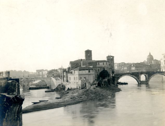 View of Tiber Island from Ponte Palatino, Rome, n.d. Albumen print.