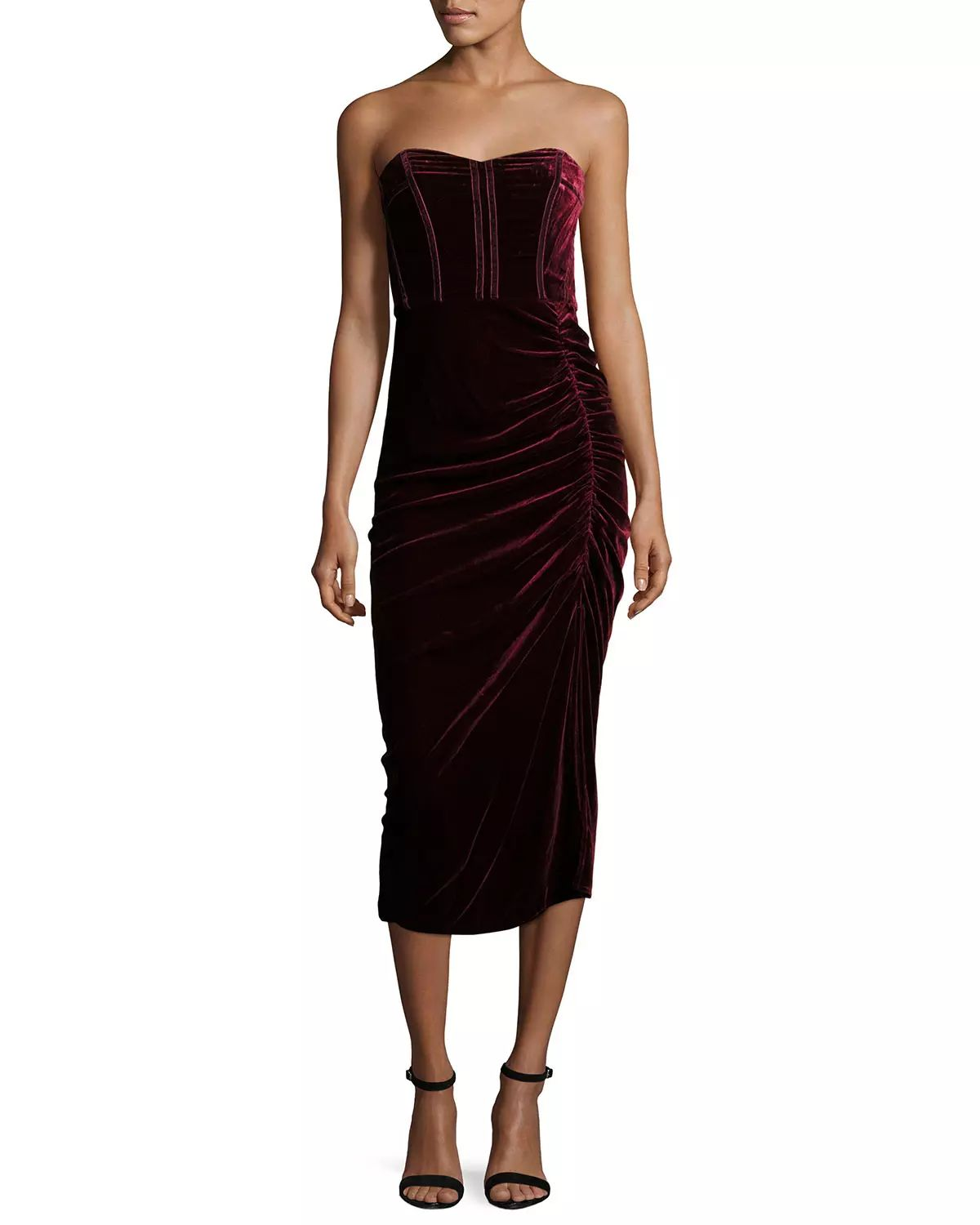 Veronica Beard, Plaza Strapless Velvet Midi Dress, Wine, $695