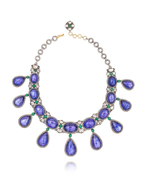 Amrapali Rajasthan Necklace Tanzanite, Emerald and Rose-Cut Diamond Necklace, Set in Gold & Silver, Price Upon Request, Brokenenglishjewelry.com.