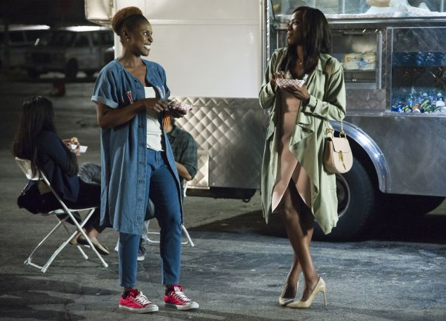 Issa Rae as Issa Dee and Yvonne Orji as Molly Carter in Insecure.