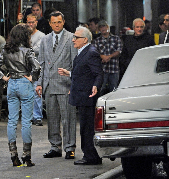 Martin Scorsese, Leonardo DiCaprio and Cristin Milioti on the set of The Wolf of Wall Street.