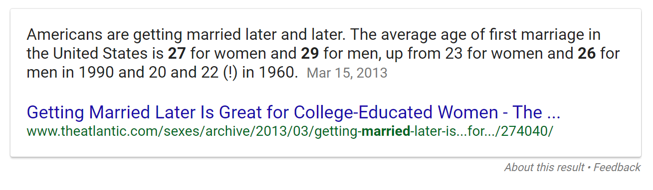 Average age of first marriage, according to Google.