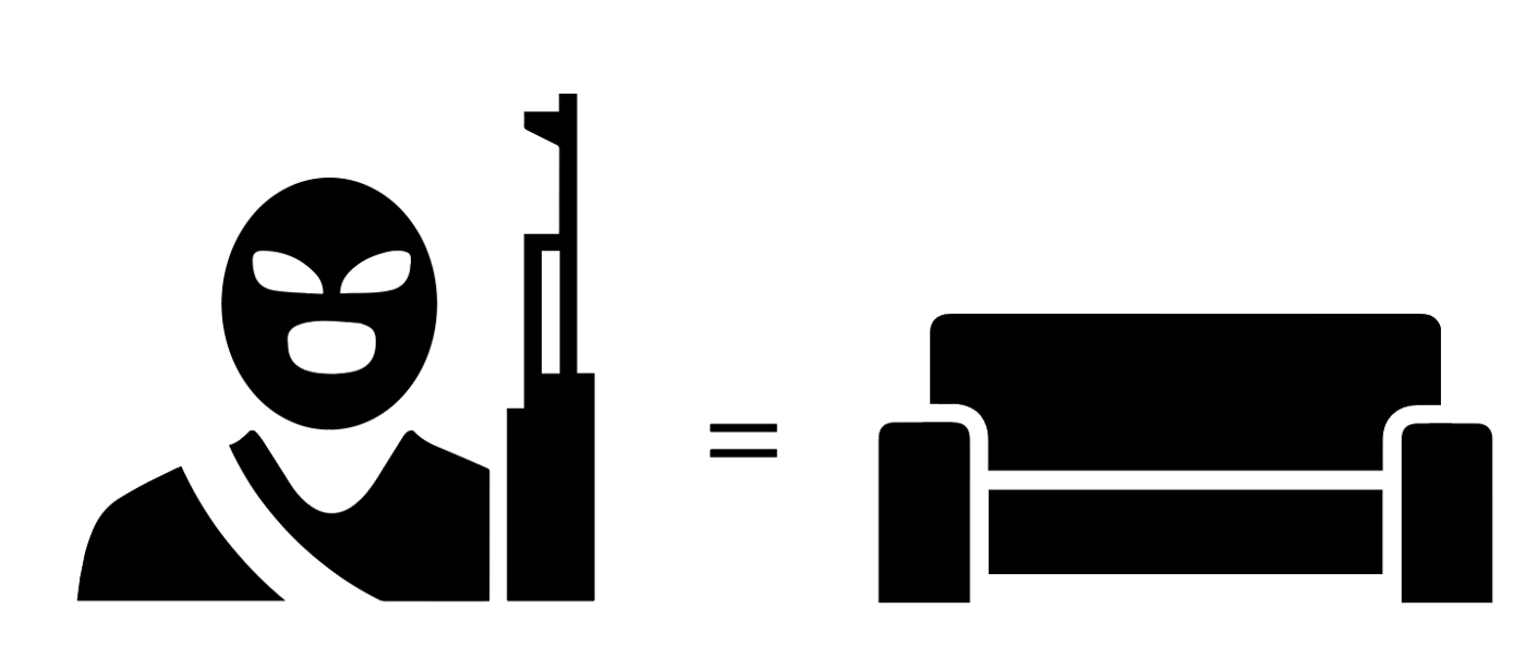 The chances of dying from a terrorist activity in the United States are equal to being crushed by furniture.