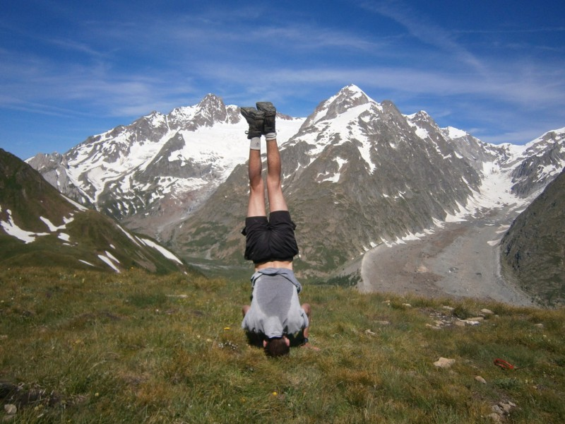The article didn't seem complete without a sweaty picture of me doing a headstand in the alps.