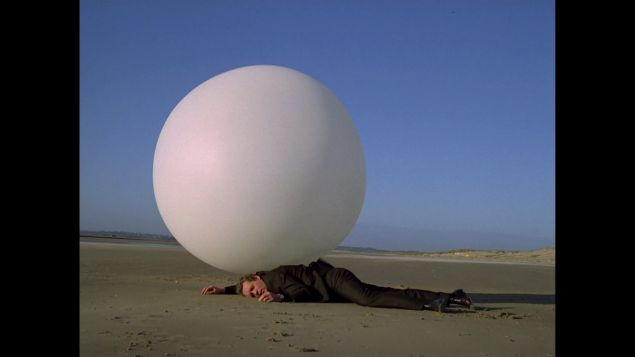 Patrick McGoohan and his pet Orb on The Prisoner.