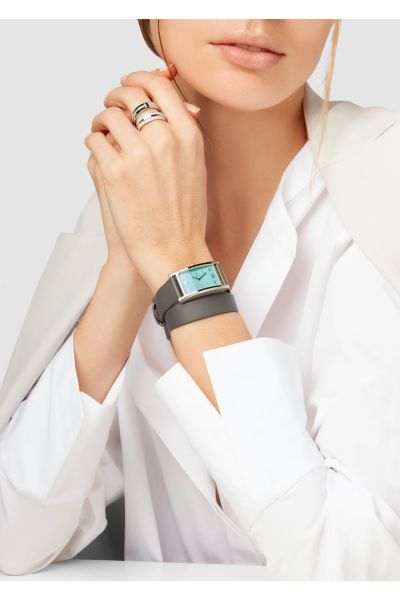 Tiffany & Co East West Mini 37 Leather and Stainless Steel Watch, $3,500, Net-a-Porter.com