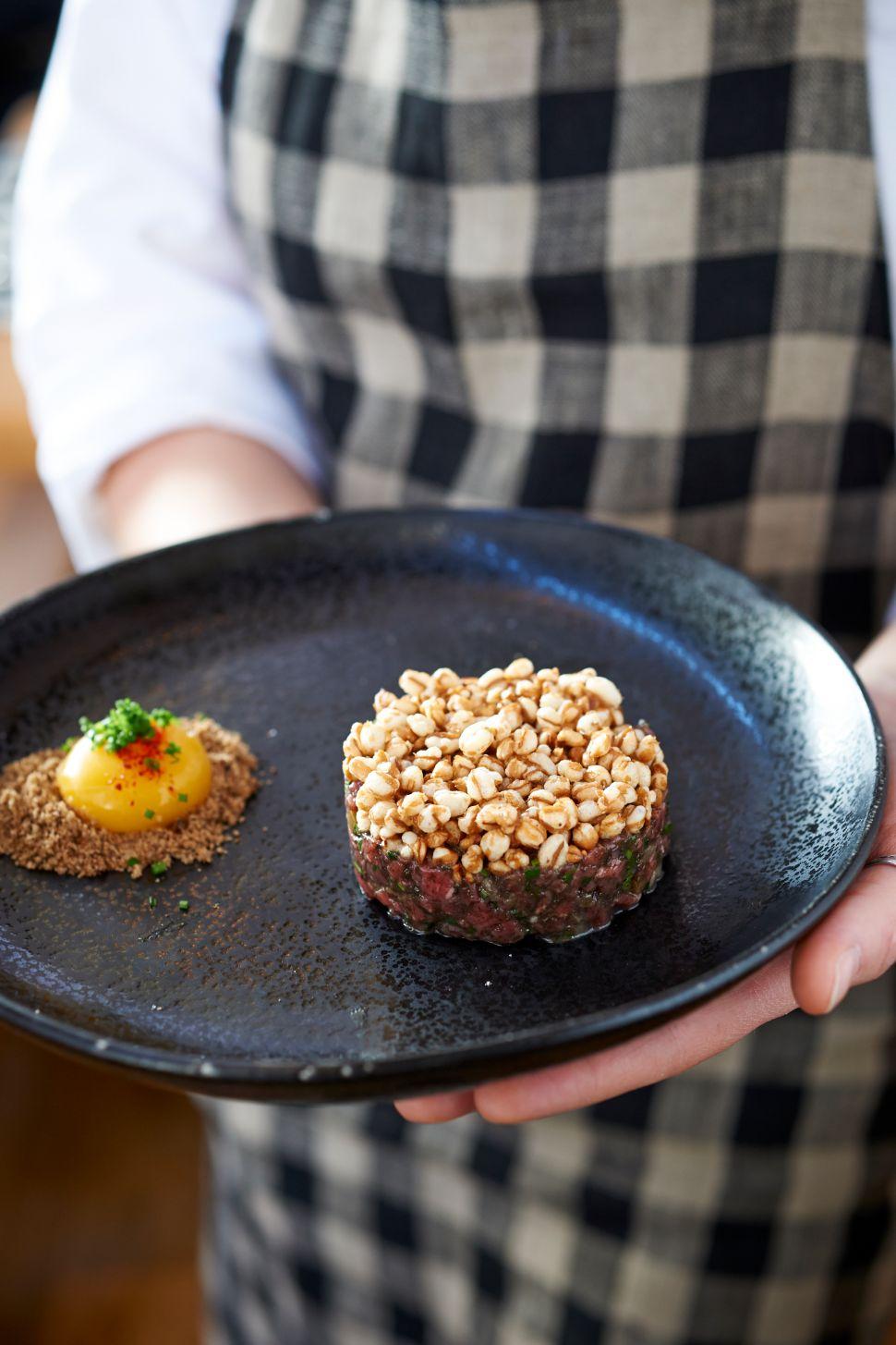 Upland's signature beef tartare.