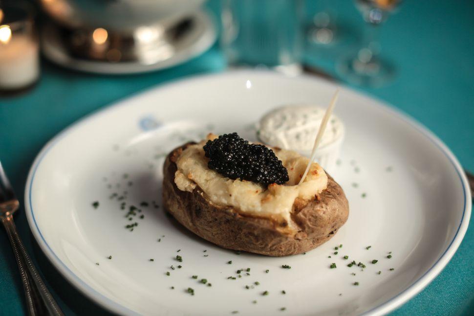 Caviar Kaspia's signature baked potato.