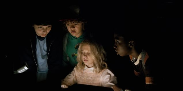 Millie Bobby Brown, Finn Wolfhard, Gaten Matarazzo and Caleb McLaughlin in Stranger Things.