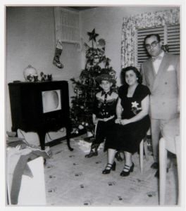Martin Scorsese with his parents, Catherine and Charles Scorsese, in Corona, Queens, c.1948.