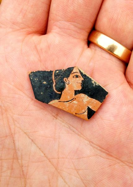 Fragment of red-figure pottery from the late 6th century BC, probably by Attic painter Paseas.