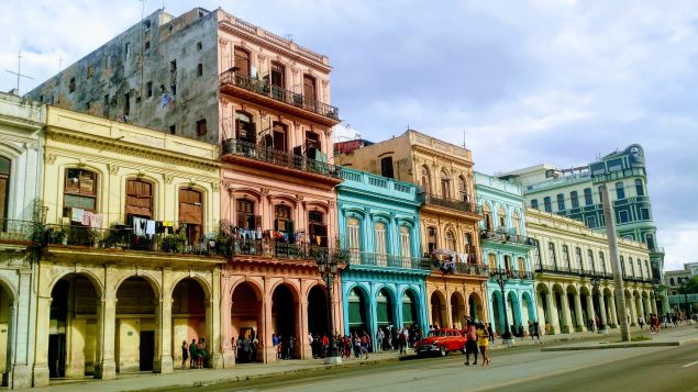 Buildings along Paseo de Martí, across from the Capitolio, the seat of Cuban government.