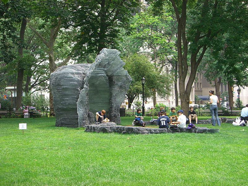 A sculpture by Ursula von Rydingsvard in Madison Square Park.