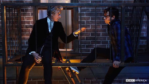 Peter Capaldi as The Doctor and Justin Chatwin as Grant Gordon.
