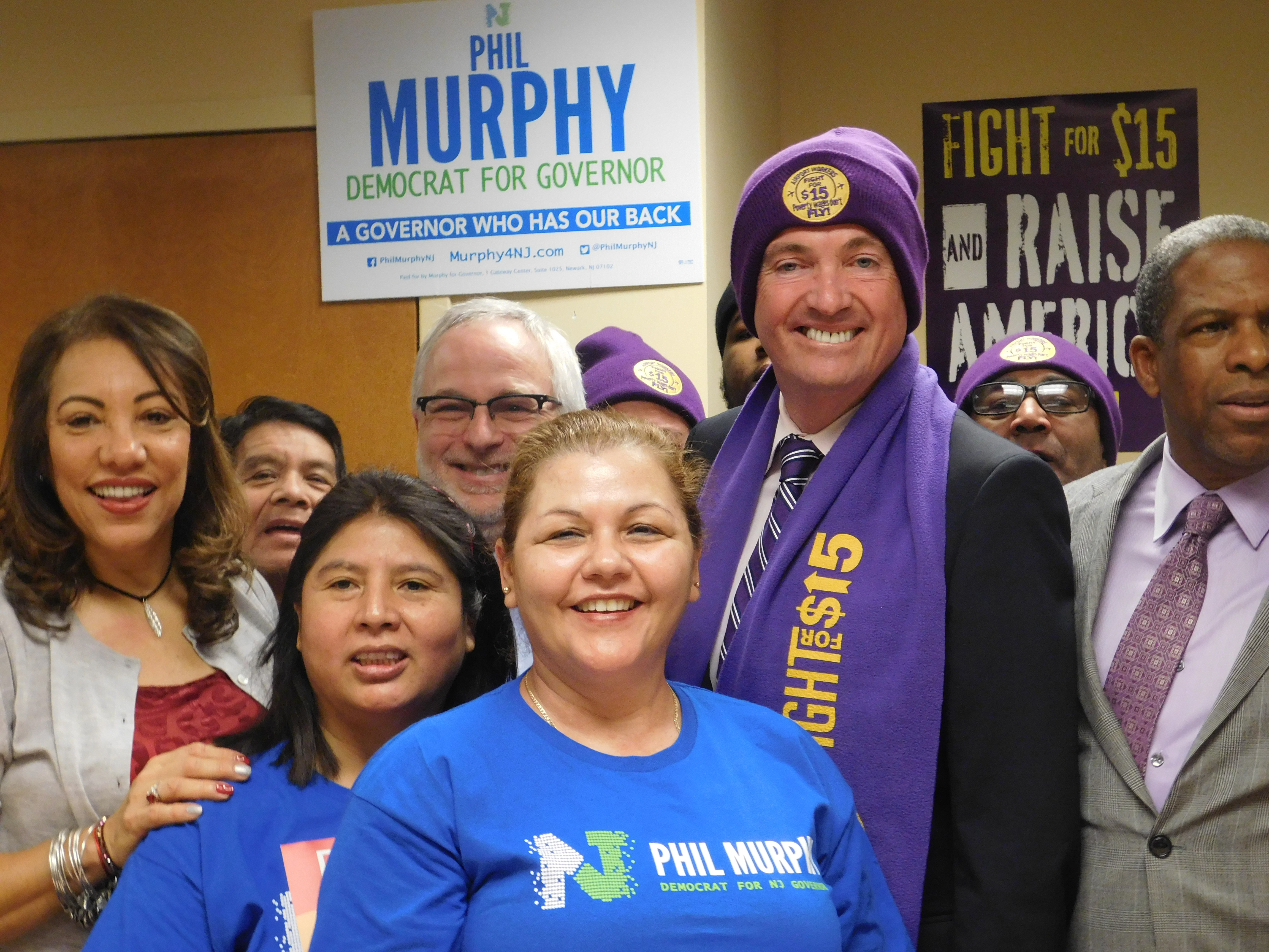 Murphy wears and SEIU 32BJ hat and scarf after being endorsed by the union in the 2017 governor's race.