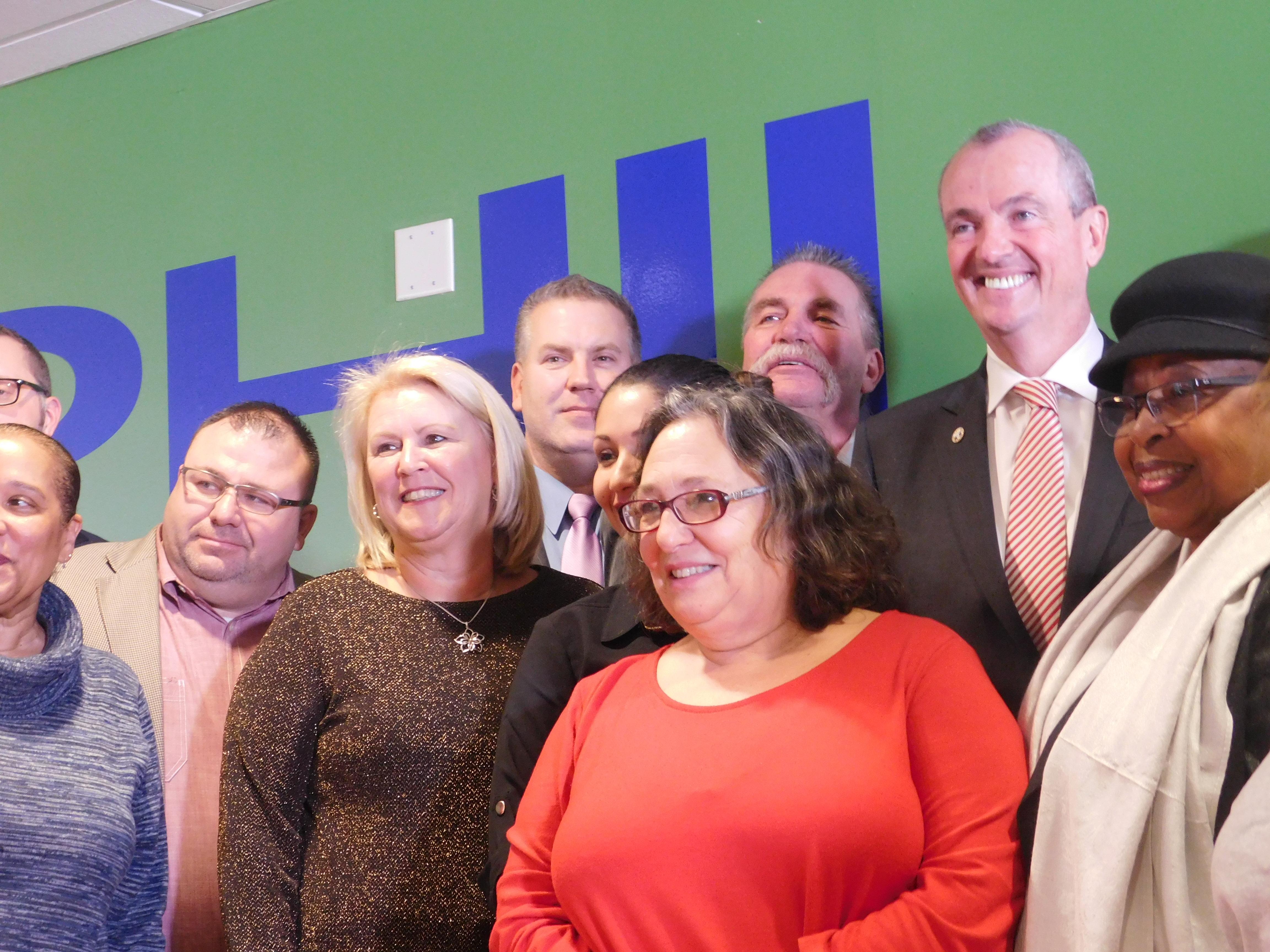 Murphy with CWA members.