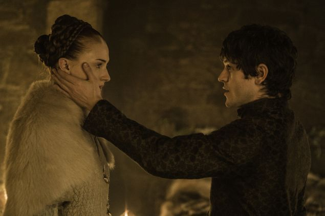 Sophie Turner and Iwan Rheon in Game of Thrones.