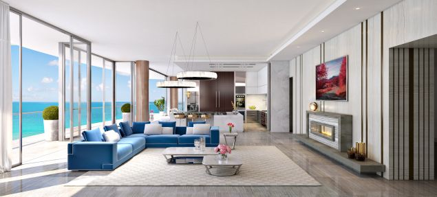 A rendering of one of the luxe apartments.