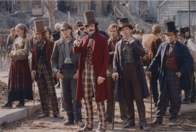 Leonardo DiCaprio (center left) and Daniel Day-Lewis (center right) in GANGS OF NEW YORK (2002, Dir. Martin Scorsese).