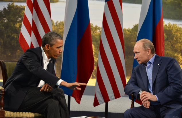 President Barack Obama with Russian President Vladimir Putin.