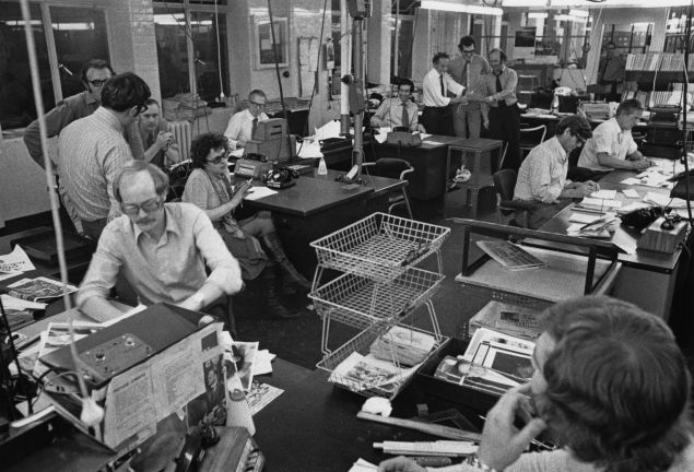 Evening Standard staff working on the night edition in the newsroom, London, 21st September 1971.