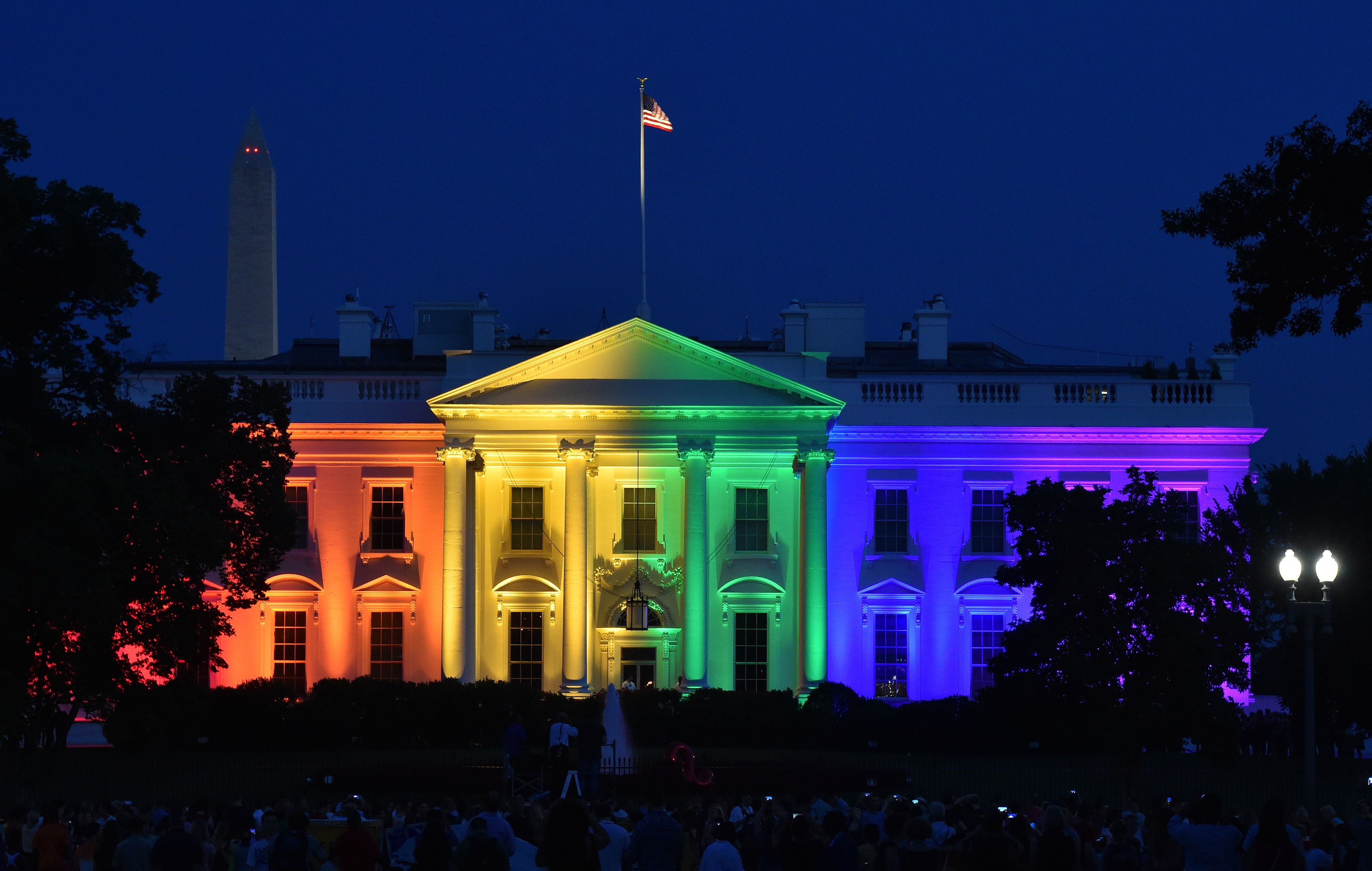 The White House is lightened in the rainbow colors.