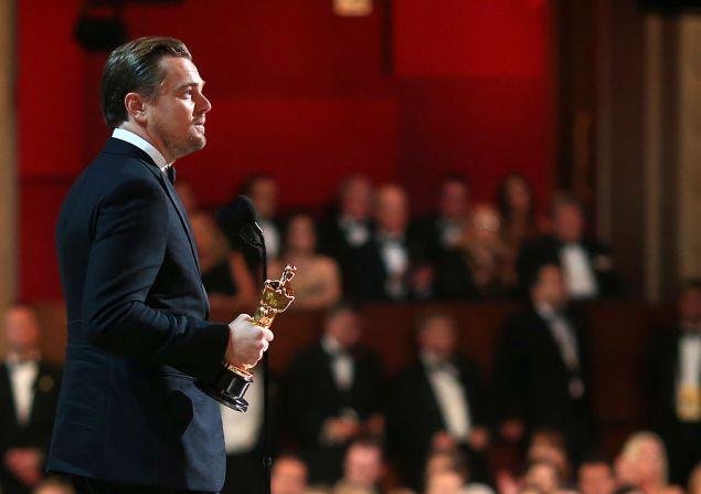 Leonardo DiCaprio at the 86th Annual Oscar Ceremony.