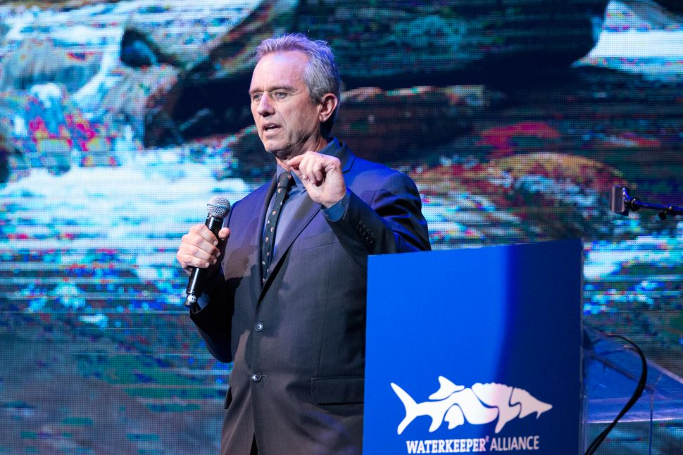 President of the Board of Waterkeeper Alliance Robert F. Kennedy Jr. speaks on stage at the Keep It Clean Comedy Benefit for Waterkeeper Alliance at Avalon on April 21, 2016 in Hollywood, California.