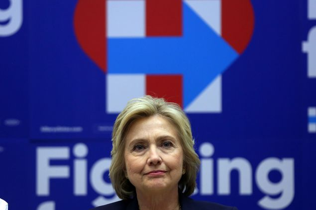Hillary Clinton at her campaign headquarters in Brooklyn.