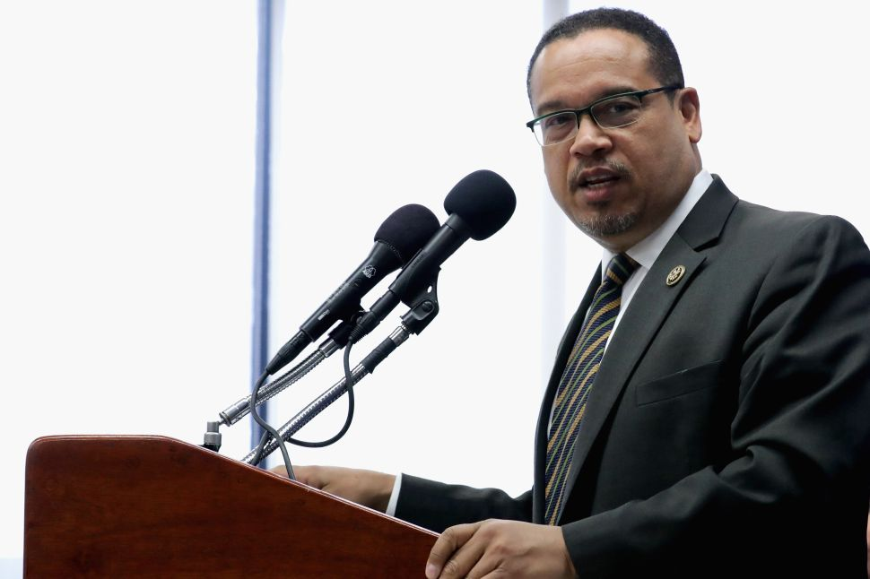 Rep. Keith Ellison holds a news conference about what he calls 'the rhetoric attacking Muslims and the Islamophobia' in the 2016 presidential election at the National Press Club May 24, 2016 in Washington, DC.