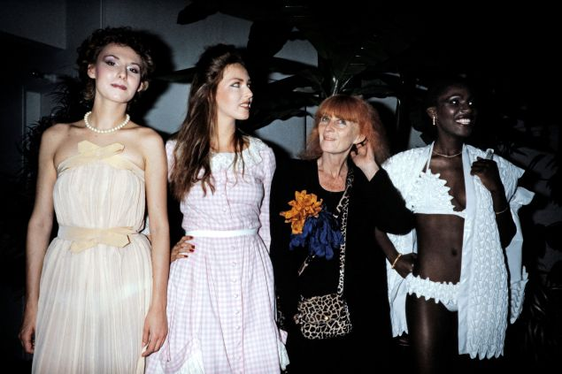 Sonia Rykiel with models, at a fashion show in 1982.