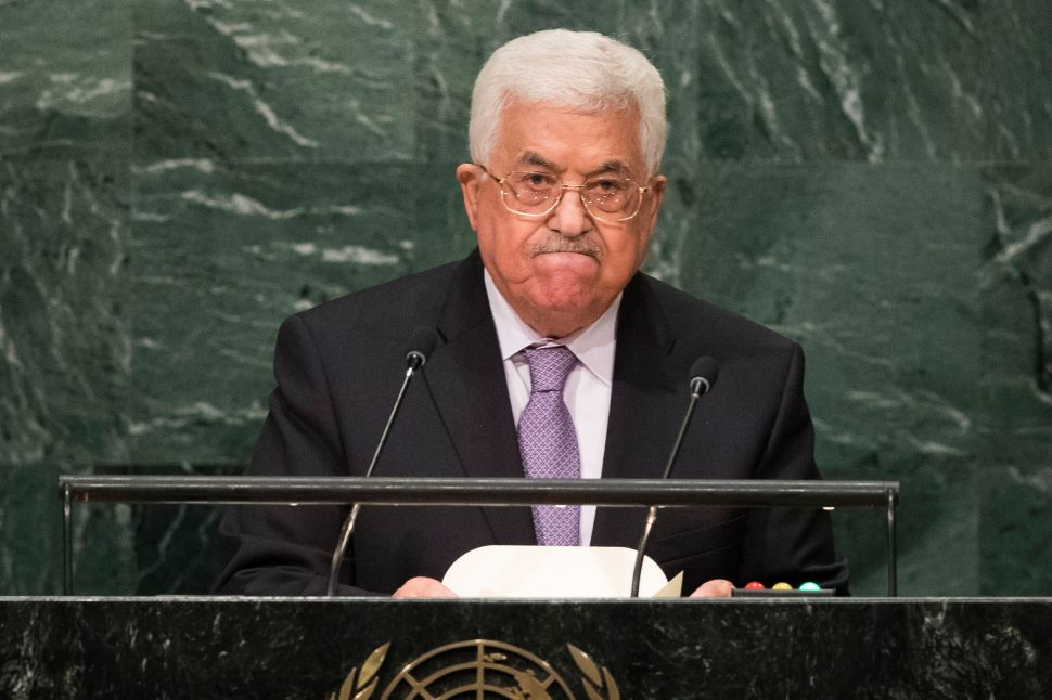 NEW YORK, NEW YORK - SEPTEMBER 22: President of the State of Palenstine Mahmoud Abbas addresses the United Nations General Assembly at UN headquarters, September 22, 2016 in New York City. According to the UN Secretary-General Ban ki-Moon, the most pressing matter to be discussed at the General Assembly is the world's refugee crisis.