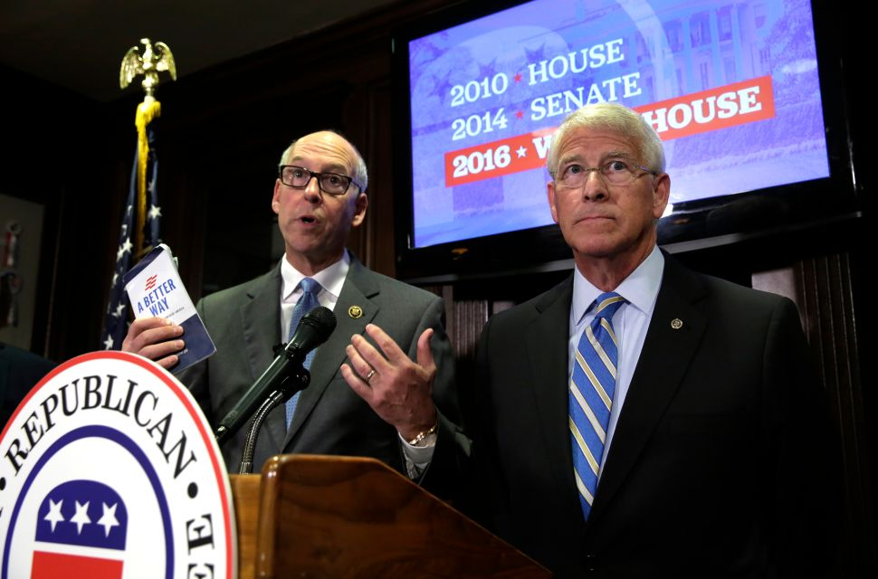 National Republican Senatorial Committee Chairmen Sen. Roger Wicker (R) and Rep. Greg Walden hold a joint news conference at the Republican National Committee (RNC) in Washington, DC, following a Trump victory on November 9, 2016.