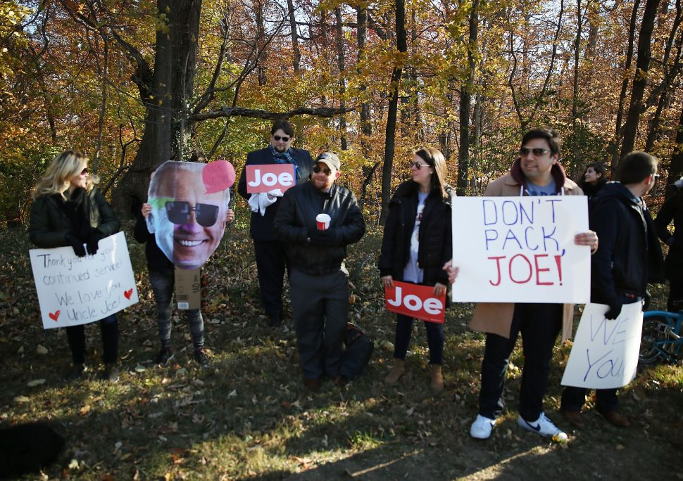 Supporters of Vice President Biden rally outside vice president Joseph Biden's residence at the Naval Observatory, to thank him for his years of public service, on November 22, 2016 in Washington, DC.