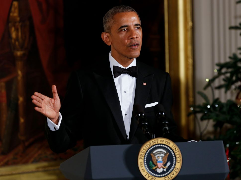 President Barack Obama speaks during a ceremony for the 2016 Kennedy Center honorees December 4, 2016 in the East Room of the White House in Washington, DC. The honorees include Eagles band members, actor Al Pacino and singer James Taylor.