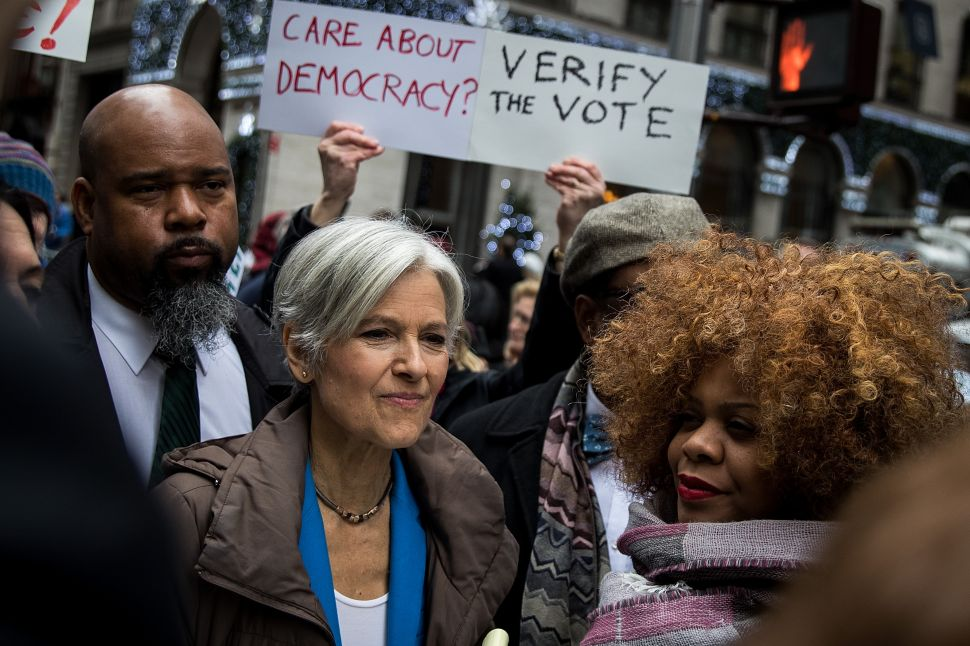 NEW YORK, NY - DECEMBER 5: Green Party presidential candidate Jill Stein waits to speak at a news conference on Fifth Avenue across the street from Trump Tower December 5, 2016 in New York City. Stein, who has launched recount efforts in Michigan and Wisconsin, spoke about demanding a statewide recount on constitutional grounds in Pennsylvania.