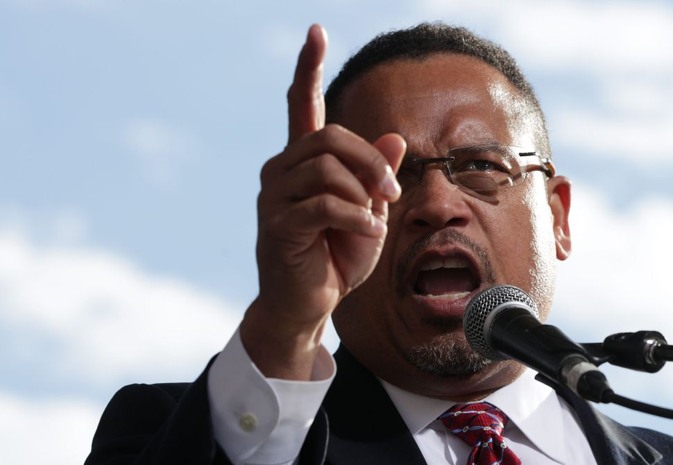 Rep. Keith Ellison speaks during a rally on jobs December 7, 2016 at Freedom Plaza in Washington, DC .