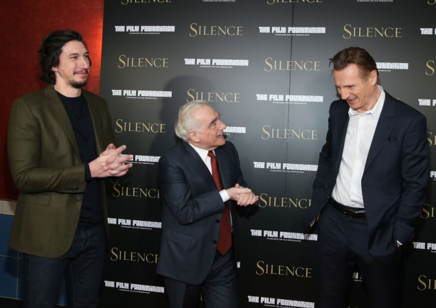Adam Driver, Martin Scorsese and Liam Neeson at the New York Screening of Silence.