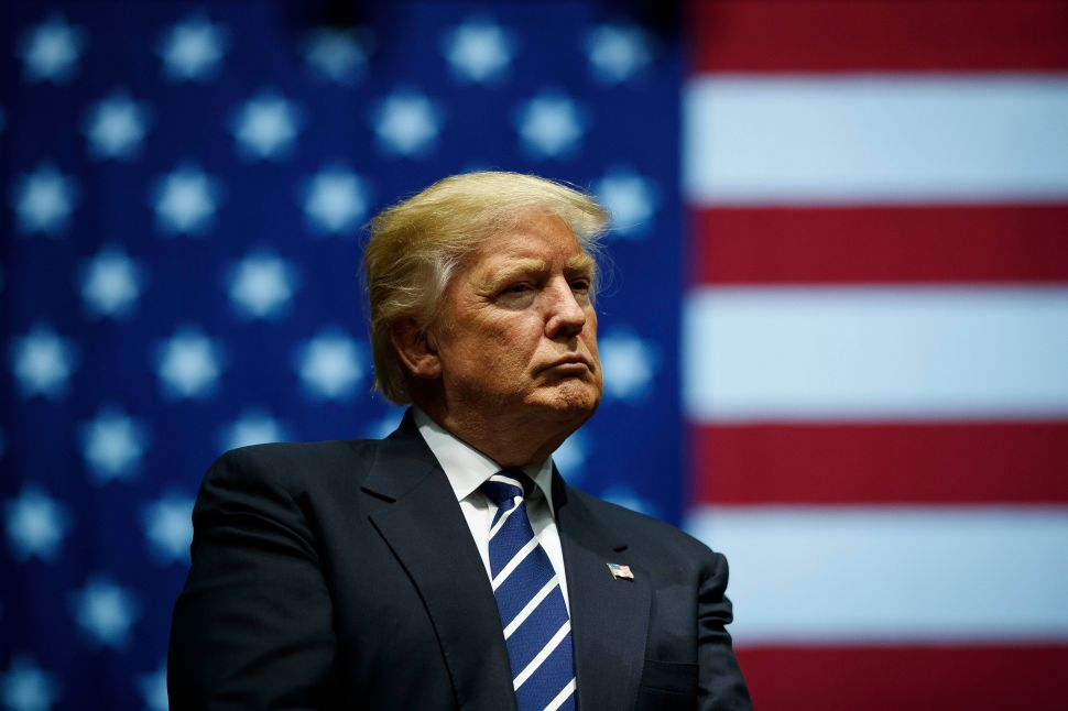 GRAND RAPIDS, MI - DECEMBER 9: President-elect Donald Trump looks on during a rally at the DeltaPlex Arena, December 9, 2016 in Grand Rapids, Michigan. President-elect Donald Trump is continuing his victory tour across the country.