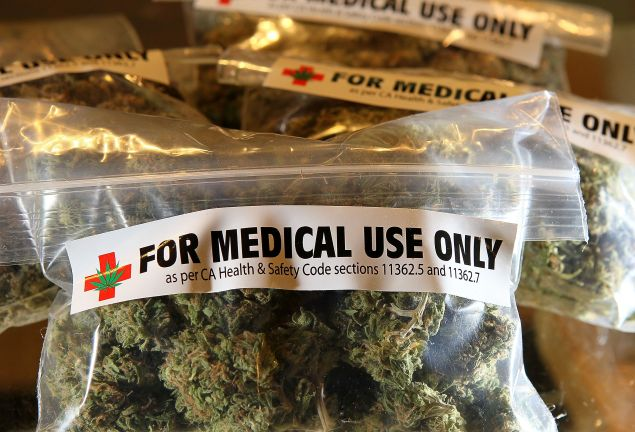 One-ounce bags of medicinal marijuana are displayed at the Berkeley Patients Group in 2010.