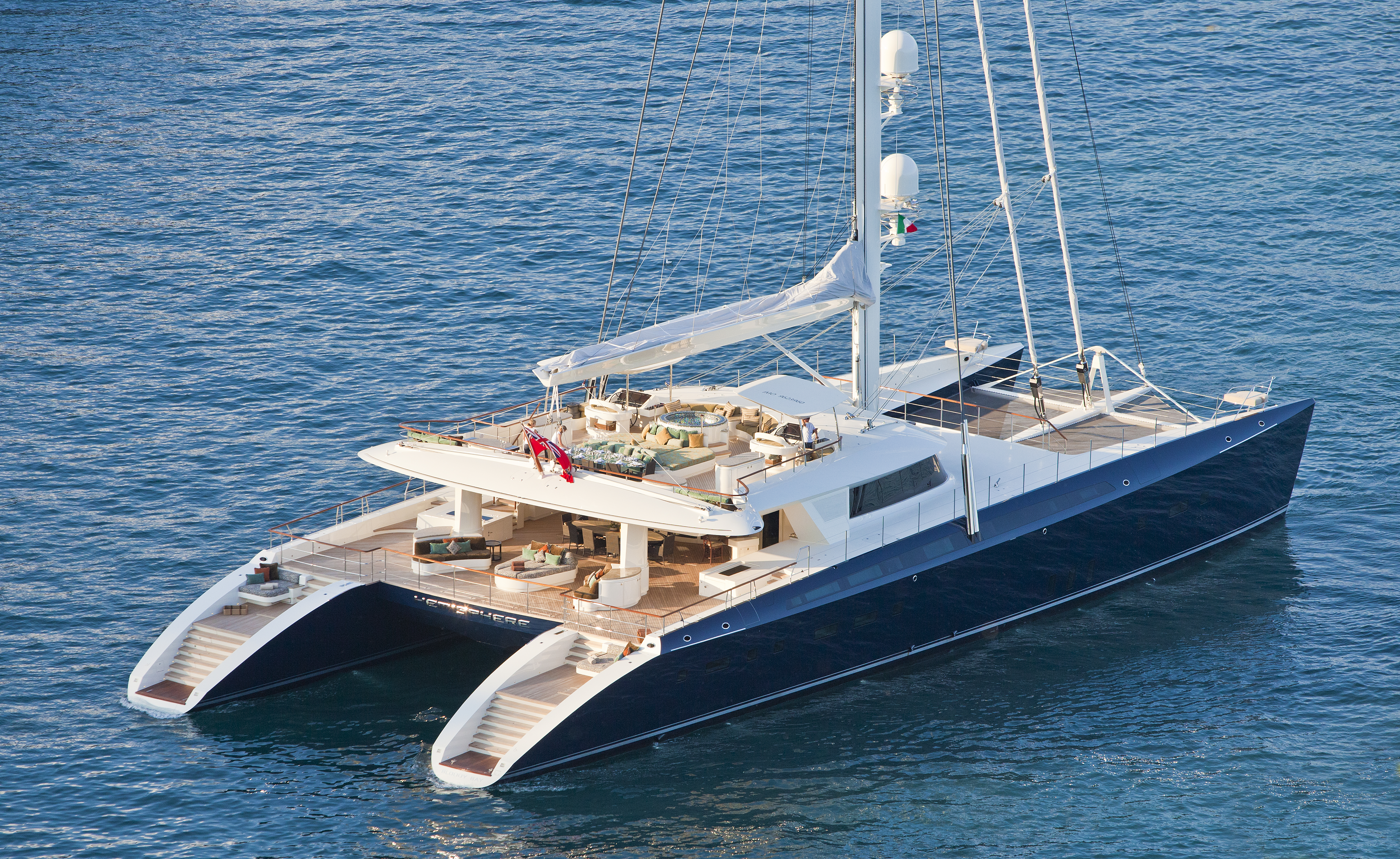 The Hemisphere is the largest sailing yacht in the world, and will be in Southeast Asia this season. She comes with a dive training center and two dive instructors.