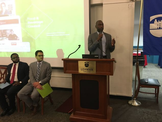 Small Business Services Commissioner Gregg Bishop speaks to minority- and women-owned businesses at an MWBE open house hosted by the city and SBS in the Bronx.