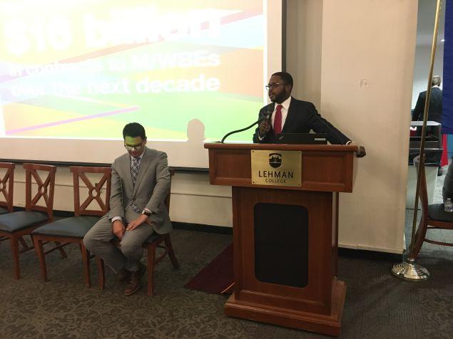 Rev. Jonnel Doris, the city's senior MWBE adviser, addresses MWBEs at the Bronx open house.