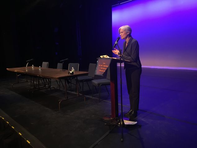 Green Party presidential candidate Jill Stein addresses attendees at the 2016 New York State Conference of Civically Engaged Women.
