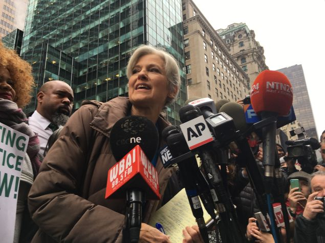 Dr. Jill Stein, the Green Party presidential candidate, addresses reporters across the street from Trump Tower.